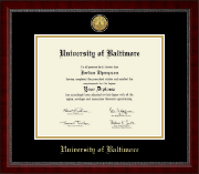 University of Baltimore Diploma Frame - Gold Engraved Medallion Diploma Frame in Sutton