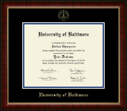 University of Baltimore Diploma Frame - Gold Embossed Diploma Frame in Murano