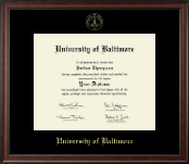 University of Baltimore Diploma Frame - Gold Embossed Diploma Frame in Studio