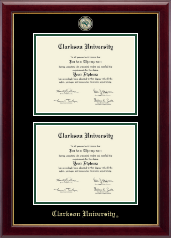 Clarkson University Diploma Frame - Masterpiece Medallion Double Diploma Frame in Gallery