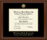 Oklahoma State University College of Osteopathic Medicine Diploma Frame - Gold Engraved Medallion Diploma Frame in Austin