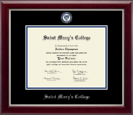 Saint Mary's College Diploma Frame - Masterpiece Medallion Diploma Frame in Gallery Silver