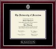 The University of Scranton Diploma Frame - Masterpiece Medallion Diploma Frame in Gallery Silver