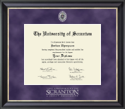 The University of Scranton Diploma Frame - Regal Edition Diploma Frame in Noir