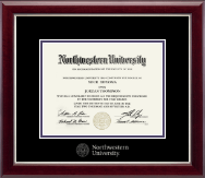 Northwestern University Diploma Frame - Silver Embossed Diploma Frame in Gallery Silver