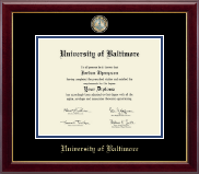 University of Baltimore Diploma Frame - Masterpiece Medallion Diploma Frame in Gallery