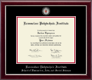 Rensselaer Polytechnic Institute Diploma Frame - Masterpiece Medallion Diploma Frame in Gallery Silver