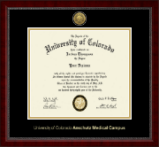 University of Colorado Anschutz Medical Campus Diploma Frame - Gold Engraved Medallion Diploma Frame in Sutton