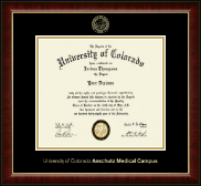 University of Colorado Anschutz Medical Campus Diploma Frame - Gold Embossed Diploma Frame in Murano