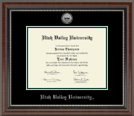 Utah Valley University Diploma Frame - Silver Engraved Medallion Diploma Frame in Chateau