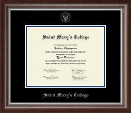 Saint Mary's College Diploma Frame - Silver Embossed Diploma Frame in Devonshire