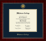 Whitman College Diploma Frame - Gold Engraved Medallion Diploma Frame in Sutton