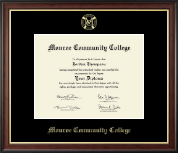 Monroe Community College Diploma Frame - Gold Embossed Diploma Frame in Studio Gold