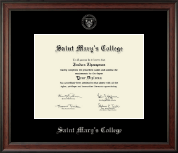 Saint Mary's College Diploma Frame - Silver Embossed Diploma Frame in Studio