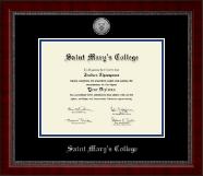Saint Mary's College Diploma Frame - Silver Engraved Medallion Diploma Frame in Sutton