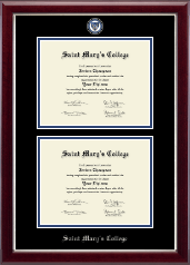 Saint Mary's College Diploma Frame - Masterpiece Medallion Double Diploma Frame in Gallery Silver