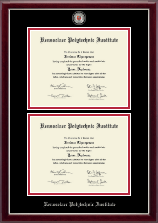 Rensselaer Polytechnic Institute Diploma Frame - Masterpiece Medallion Double Diploma Frame in Gallery Silver