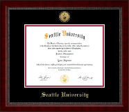 Seattle University Diploma Frame - Gold Engraved Medallion Diploma Frame in Sutton