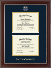 Smith College Diploma Frame - Masterpiece Medallion Double Diploma Frame in Chateau