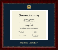Brandeis University Diploma Frame - Gold Engraved Medallion Diploma Frame in Sutton