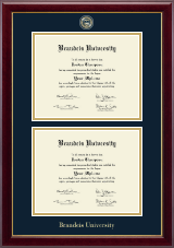 Brandeis University Diploma Frame - Masterpiece Medallion Double Diploma Frame in Gallery