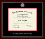 Northeastern University Diploma Frame - Silver Engraved Medallion Diploma Frame in Sutton