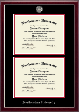 Northeastern University Diploma Frame - Masterpiece Medallion Double Diploma Frame in Gallery Silver