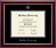 Bluffton University Diploma Frame - Silver Embossed Diploma Frame in Gallery Silver