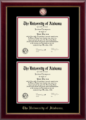 The University of Alabama Tuscaloosa Diploma Frame - Masterpiece Medallion Double Diploma Frame in Gallery