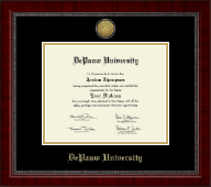 DePauw University Diploma Frame - Gold Engraved Medallion Diploma Frame in Sutton