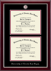 University of Nevada Las Vegas Diploma Frame - Masterpiece Medallion Double Diploma Frame in Gallery Silver