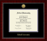 Alfred University Diploma Frame - Gold Engraved Medallion Diploma Frame in Sutton