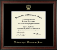 University of Wisconsin-Stout Diploma Frame - Gold Embossed Diploma Frame in Studio