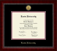 Lewis University Diploma Frame - Gold Engraved Medallion Diploma Frame in Sutton