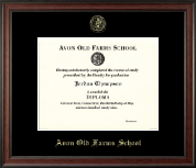 Avon Old Farms School in Connecticut Diploma Frame - Gold Embossed Diploma Frame in Studio