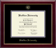 Bluffton University Diploma Frame - Gold Embossed Diploma Frame in Gallery