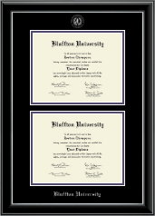 Bluffton University Diploma Frame - Double Diploma Frame in Onyx Silver