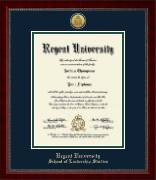 Regent University Diploma Frame - Gold Engraved Medallion Diploma Frame in Sutton