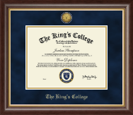 The King's College in New York City Diploma Frame - Gold Engraved Medallion Diploma Frame in Hampshire