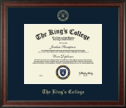 The King's College in New York City Diploma Frame - Gold Embossed Diploma Frame in Studio