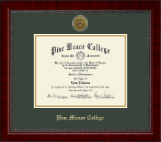 Pine Manor College Diploma Frame - Gold Engraved Medallion Diploma Frame in Sutton