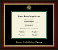 Lamar State College Orange Diploma Frame - Gold Embossed Diploma Frame in Murano