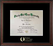 Florida Gulf Coast University Diploma Frame - Gold Embossed Diploma Frame in Studio