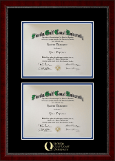 Florida Gulf Coast University Diploma Frame - Double Diploma Frame in Sutton