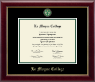 Le Moyne College Diploma Frame - Masterpiece Medallion Diploma Frame in Gallery