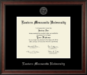 Eastern Mennonite University Diploma Frame - Silver Embossed Diploma Frame in Studio