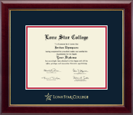 Lone Star College Diploma Frame - Gold Embossed Diploma Frame in Gallery