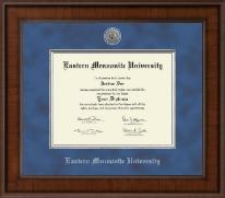 Eastern Mennonite University Diploma Frame - Presidential Silver Engraved Diploma Frame in Madison