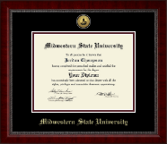 Midwestern State University Diploma Frame - Gold Engraved Medallion Diploma Frame in Sutton