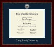 Holy Family University Diploma Frame - Silver Engraved Medallion Diploma Frame in Sutton